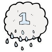 Raincloud met nummer één — Stockvector