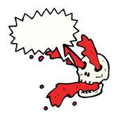 Gross blood spurting skull — Stock Vector