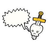 Espada na tatuagem de caveira — Vetorial Stock