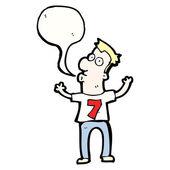 Cartoon man in shirt number 7 — Stock Vector