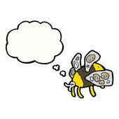 Cartoon buzzing bee with thought bubble — Stock Vector