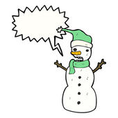 Snowman with thought bubble — Stock Vector
