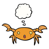 Crab with speech bubble — Stock Vector
