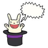 Funny white rabbit in hat — Stock Vector