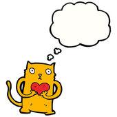 Ginger cat holding love heart — Stock Vector