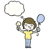Chlapec se zmrzlinou a balónek — Stock vektor