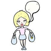 漂亮女人携带购物袋 — 图库矢量图片
