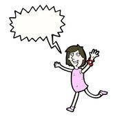 Running joyful woman — Stock Vector