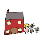 Dibujo de una casa de familia — Vector de stock