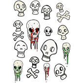 Skulls color collection — Vecteur