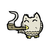 Owl smoking pipe — Stock Vector