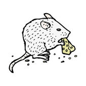 Mouse eating cheese — Stock Vector