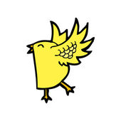 Funny yellow bird — Stock Vector