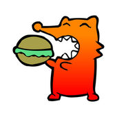 Fox eating burger — Stock Vector