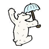Polar bear dansen met paraplu — Stockvector