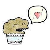 Happy muffin in love — Stock Vector