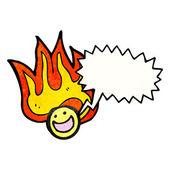 Flammande glada ansikte symbol — Stockvektor
