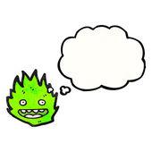 Little green fire creature — Stock Vector