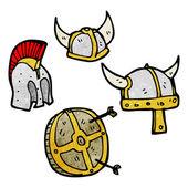 Helm und schild-auflistung — Stockvektor