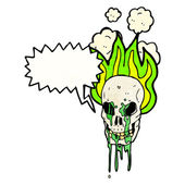 Flaming skull with gross dripping blood — Stock Vector