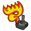 Flaming arcade joystick — Stock Vector