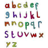 铅笔形状字母表 — 图库矢量图片