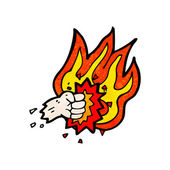 Flaming fist symbol — Vector de stock