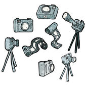 Photography camera equipment collection — 图库矢量图片