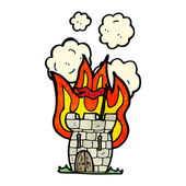 Burning medieval tower — Stock Vector