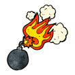 Bomb with burning fuse — Stock Vector