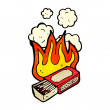 Stock Vector: Burning matchbox