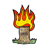 Burning tree stump — Stock Vector