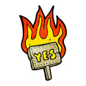 Flaming yes signpost — Stock Vector