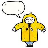 Person in rain coat with speech bubble — Stock Vector