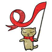 Cat waving flag — Stock Vector