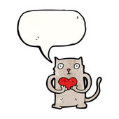 Cute cat with heart — Stock Vector