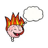 Cervello in fiamme — Vettoriale Stock