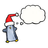 Penguin with thought bubble — Stock Vector