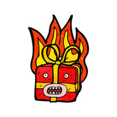 Flaming present — Stock Vector