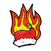 Burning santa hat — Stock Vector