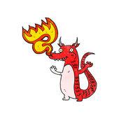 Fire breathing little dragon — Stock Vector