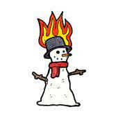 Burning snowman — Stock Vector