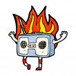 Burning radio cassette player — Vektorgrafik