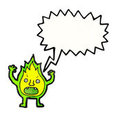 Green fire creature with speech bubble — Stock Vector