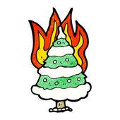 Burning christmas tree — Stockvektor