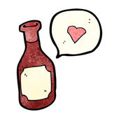 Red wine bottle with love heart — Stock Vector