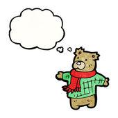 Cartoon teddy bear in scarf and jumper — Stock Vector