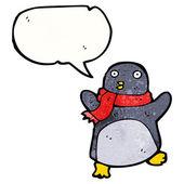 Penguin wearing scarf — Stock Vector