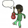 Hippie man with guitar - Imagen vectorial