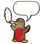Robin smoking cigar — Stock Vector